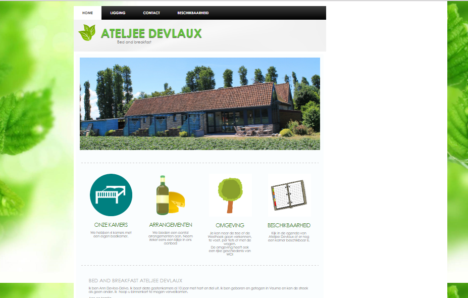 wetsite bed and breakfast Ateljee Devlaux